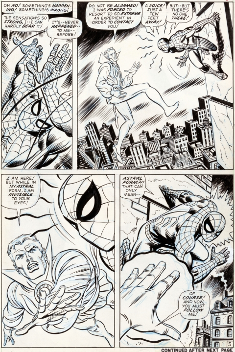 Amazing Spider-Man issue 109 page 5 by John Romita and Tony Mortellaro.  Source.