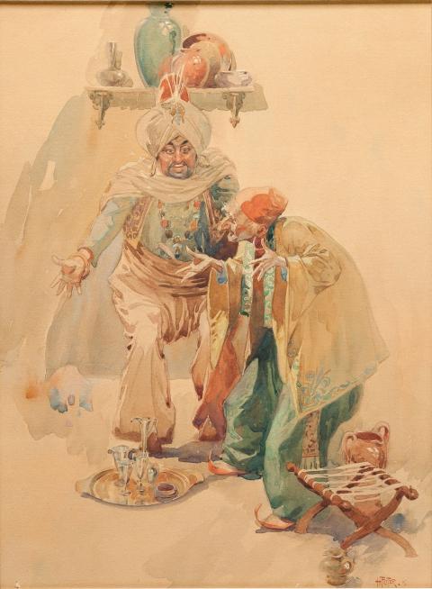 Arab Bazaar Merchants by Hal Foster.  Source.