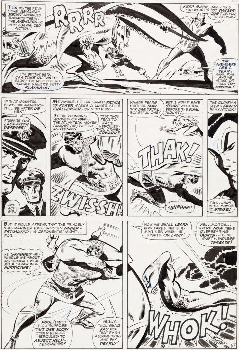 Avengers issue 40 page 17 by Don Heck and George Roussos.  Source.