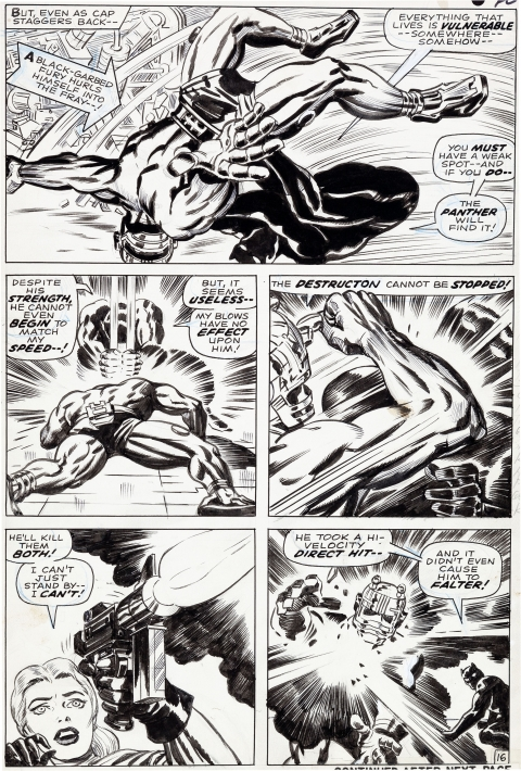 Captain America issue 100 page 16 by Jack Kirby and Syd Shores.  Source.