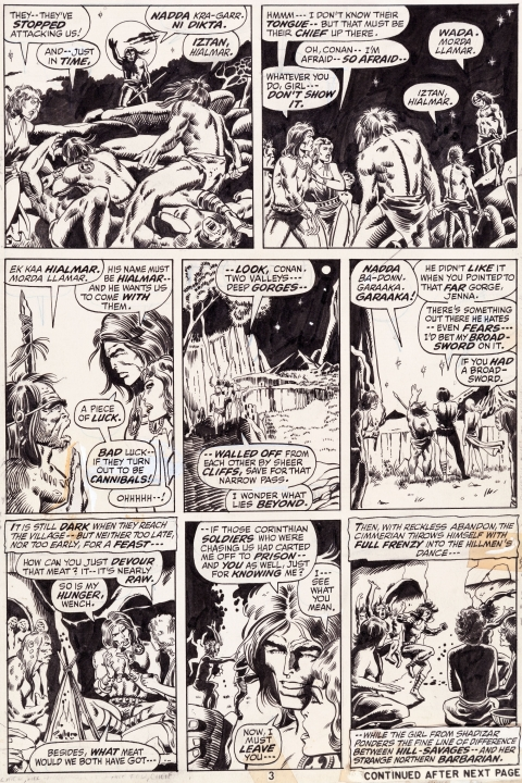 Conan The Barbarian issue 9 page 3 by Barry Windsor-Smith and Sal Buscema. Source.