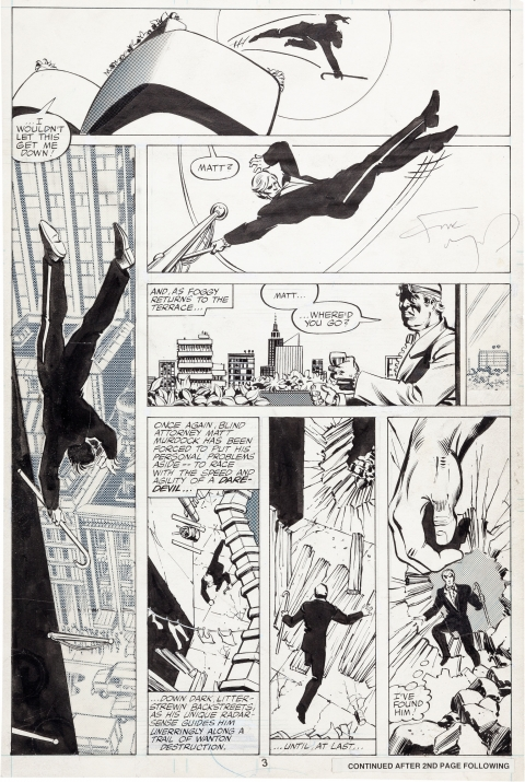 Daredevil issue 163 page 3 by Frank Miller and Joe Rubinstein. Source.