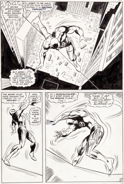 Daredevil issue 31 page 17 by Gene Colan and John Tartaglione.  Source.