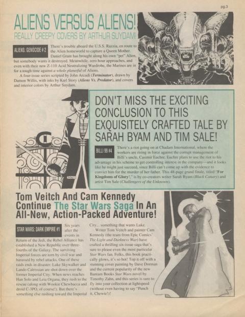 Dark Horse Insider December 1991 page 3