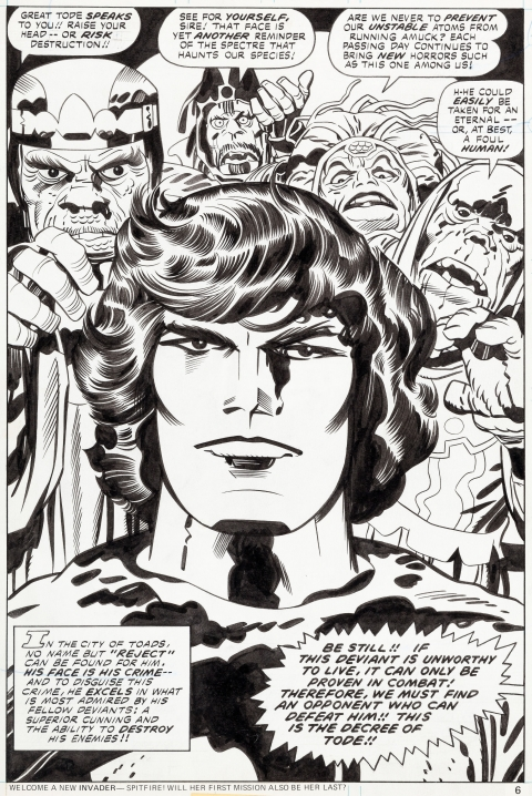 Eternals issue 8 page 6 by Jack Kirby and Mike Royer.  Source.