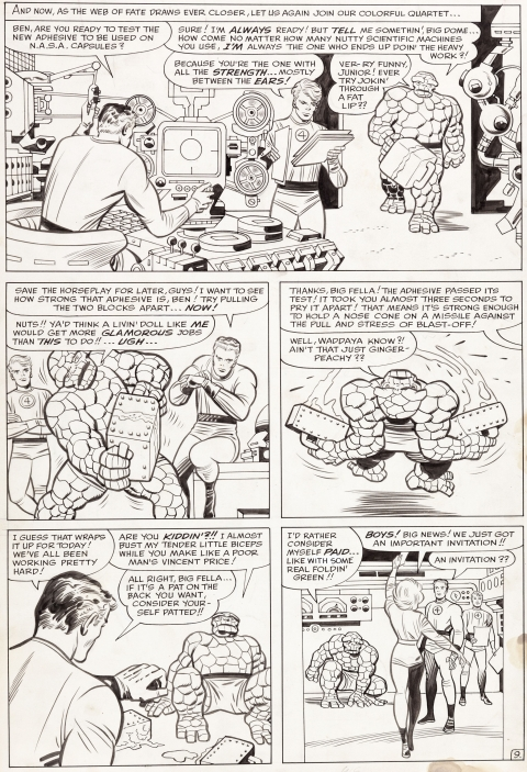 Fantastic Four Annual issue 2 page 9 by Jack Kirby and Chic Stone.  Source.