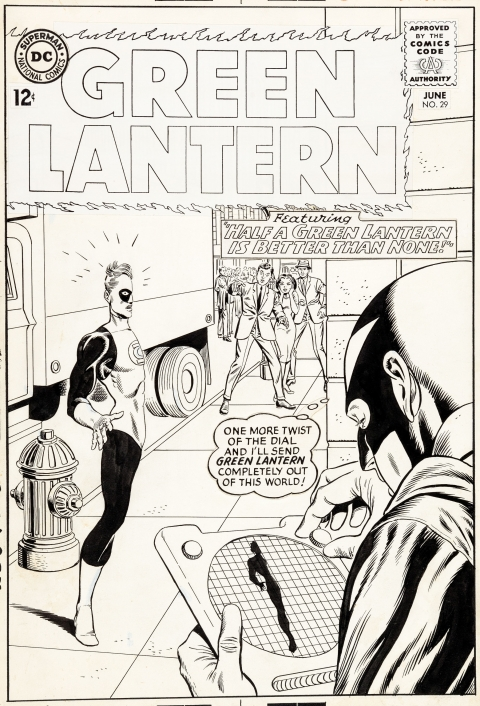 Green Lantern issue 29 cover by Gil Kane and Murphy Anderson.  Source.