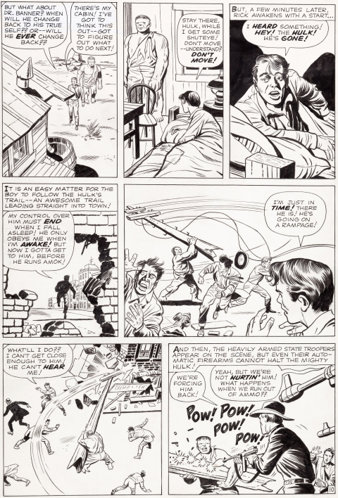 Incredible Hulk issue 3 page 10 by Jack Kirby and Dick Ayers.  Source.