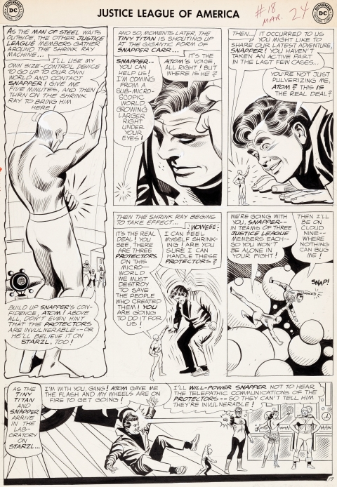 Justice League Of America issue 18 page 19 by Mike Sekowsky and Bernard Sachs.  Source.