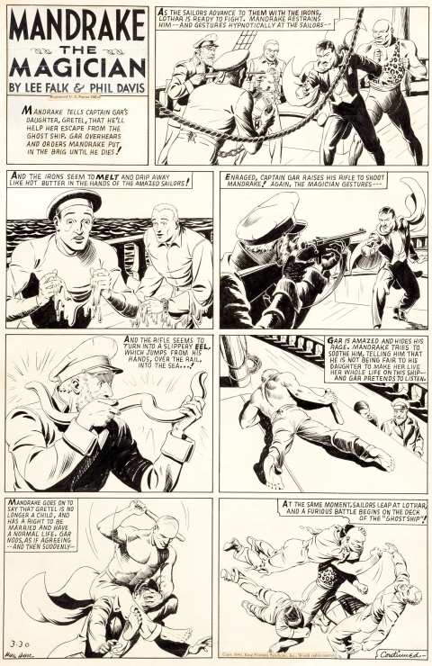 Mandrake The Magician Sunday 3-30-1941 by Phil Davis.  Source.