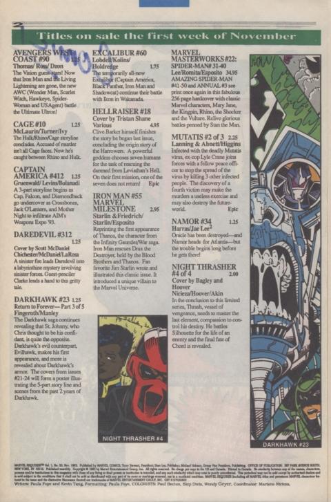 Marvel Requirer November 1992 page 2
