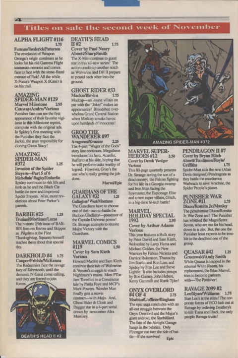 Marvel Requirer November 1992 page 4