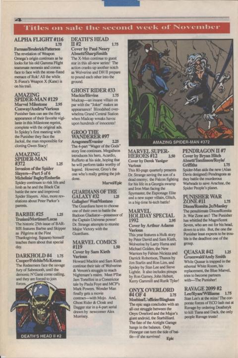 Marvel Requirer November 1992 page 4
