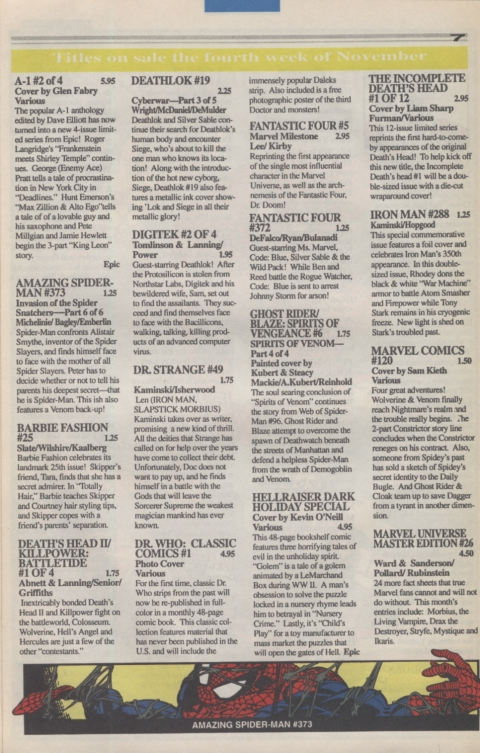 Marvel Requirer November 1992 page 7
