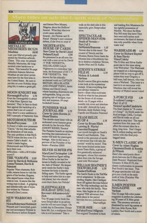 Marvel Requirer November 1992 page 8