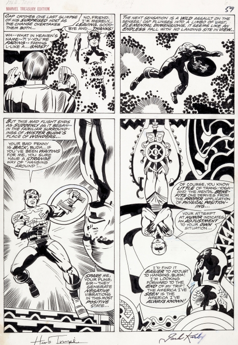 Marvel Treasury Special Featuring Captain America's Bicentennial Battles page 59 by Jack Kirby and Herb Trimpe.  Source.