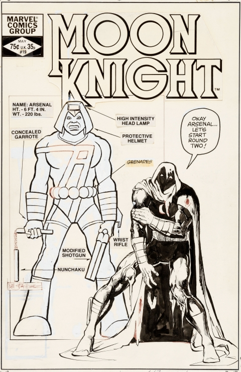 Moon Knight issue 19 cover by Bill Sienkiewicz.  Source.