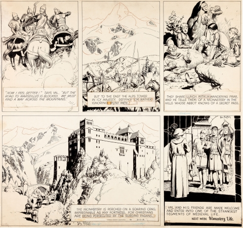 Prince Valiant partial Sunday 2-11-1951 by Hal Foster.  Source.