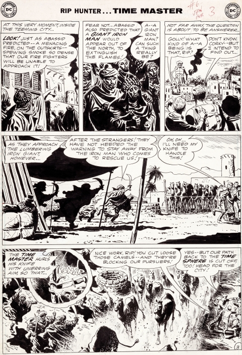 Rip Hunter Time Master issue 6 page 3 by Alex Toth.  Source.