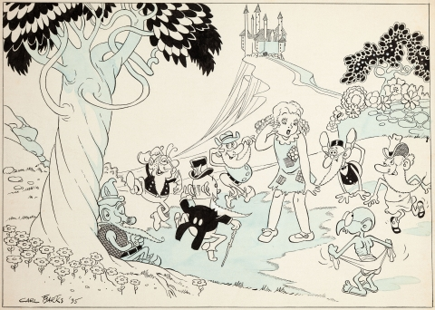Snow White and the Seven Dwarfs by Carl Barks.  Source.