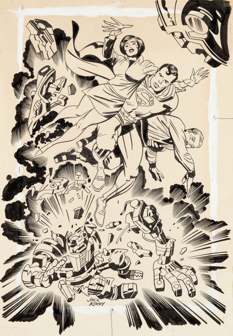 Superman Puzzle by Jack Kirby and Mike Royer.  Source.