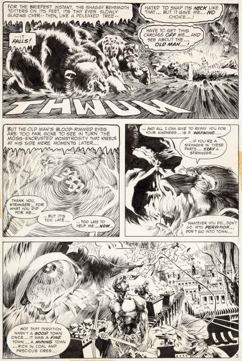 Swamp Thing issue 8 page 5 by Bernie Wrightson.  Source.