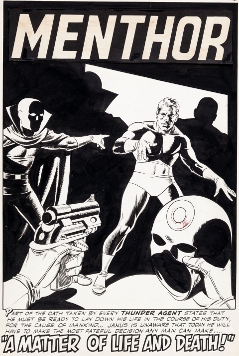 THUNDER Agents issue 7 splash by Steve Ditko and Wally Wood.  Source.