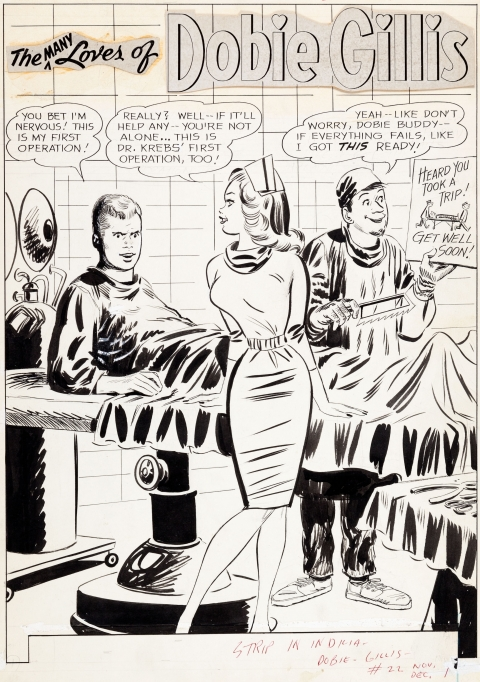 The Many Loves Of Dobie Gillis issue 22 splash by Bob Oksner.  Source.