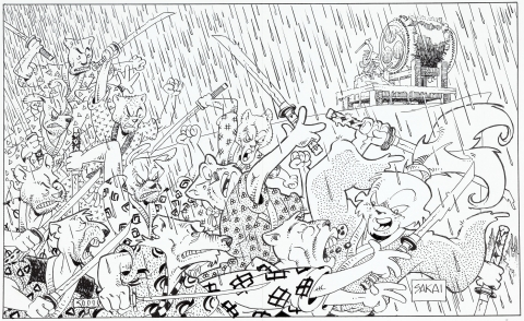 Usagi Yojimbo Trade 28 endpaper by Stan Sakai.  Source.