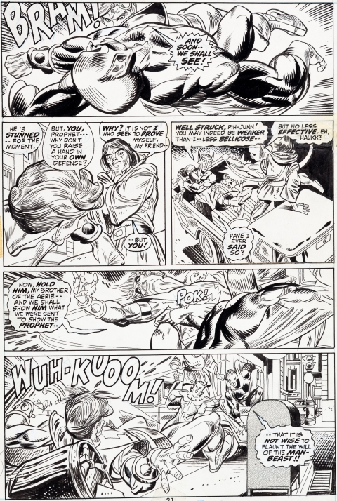 Warlock issue 1 page 21 by Gil Kane and Tom Sutton.  Source.