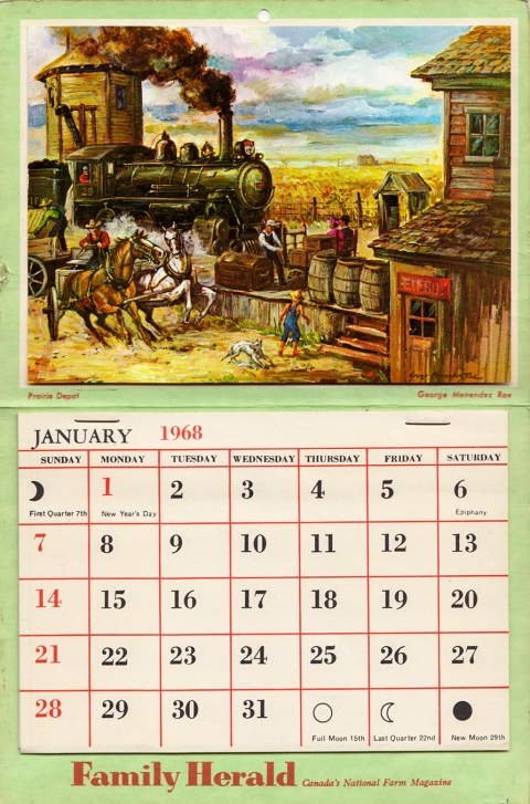 A 1968 calendar insert for the Family Herald Magazine by Rae.