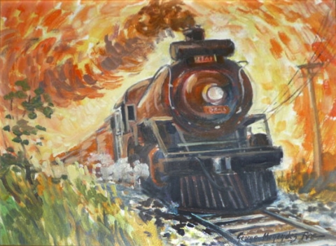 A Rae painting of one of his favourite subjects, locomotive engines.