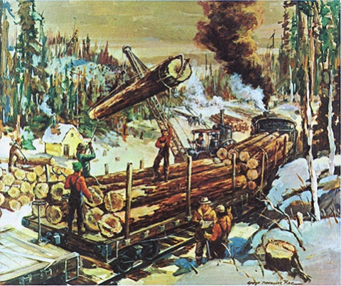 Mechanization of the Lumber Industry painting by Rae