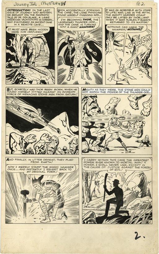 Journey Into Mystery issue 84 page 2 by Jack Kirby and Dick Ayers.  Source.