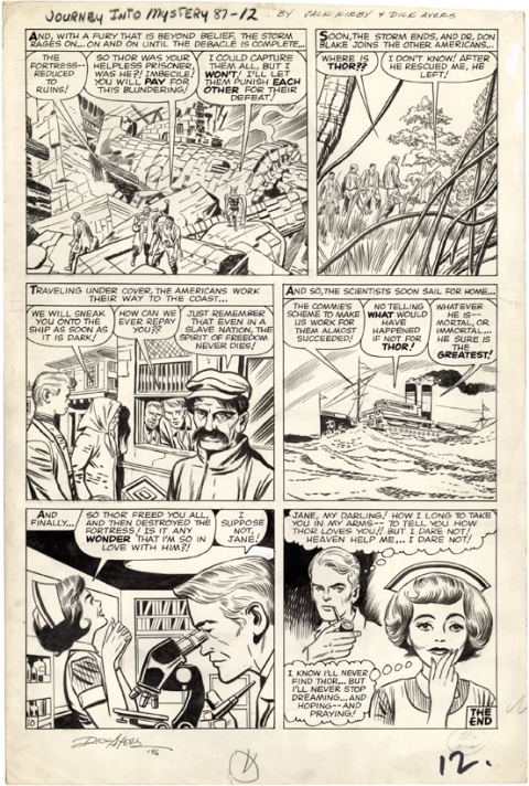 Journey Into Mystery issue 87 page 12 by Jack Kirby and Dick Ayers. Source.