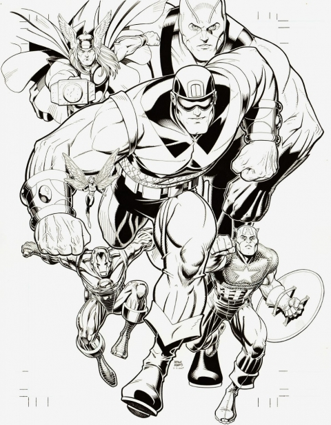 Avengers Classic issue 9 cover by Arthur Adams.  Source.