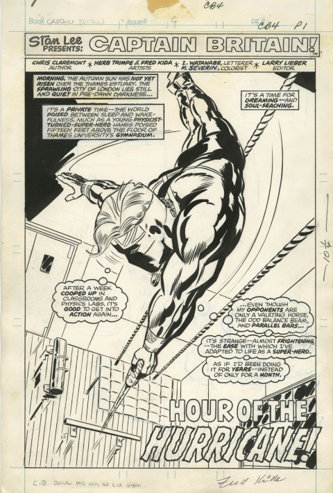 Captain Britain issue 4 splash by Herb Trimpe and Fred Kida.  Source.