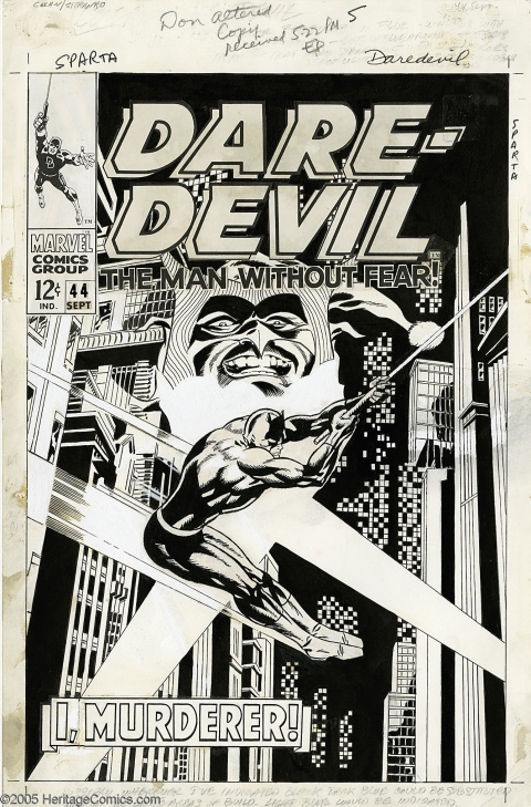 Daredevil issue 44 cover by Gene Colan and Jim Steranko. Source.
