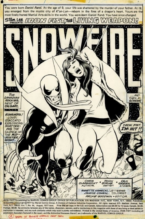 Iron Fist issue 14 splash by John Byrne and Dan Green.  Source.
