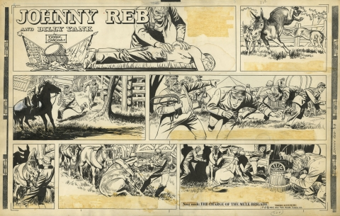 Johnny Reb Sunday 8-19-1957 by Frank Giacoia and Jack Kirby.  Source.