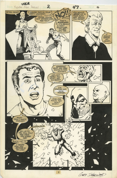 Web Of Spider-Man Annual 2 page 7 by Mike Mignola and Geof Isherwood.  Source.