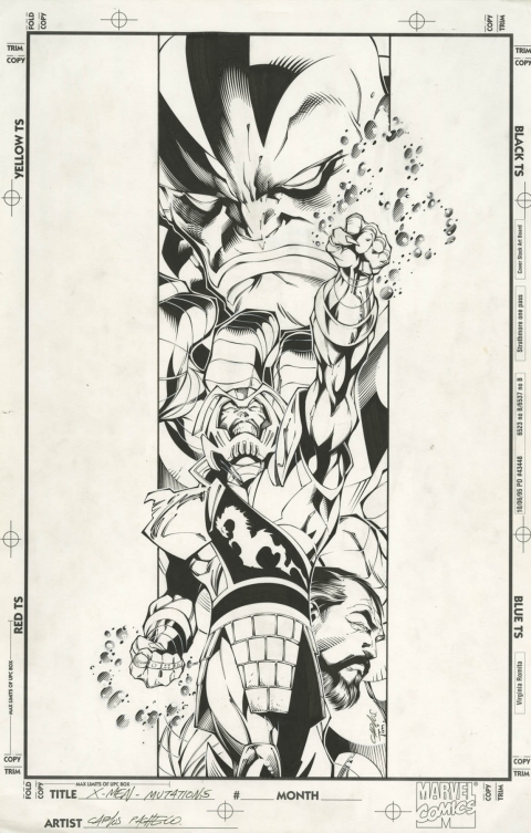 X-Men Mutations Back Cover by Carlos Pacheco and Tim Townsend.  Source.