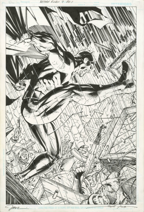 All-Star Batman and Robin The Boy Wonder issue 7 splash by Jim Lee and Scott Williams.  Source.