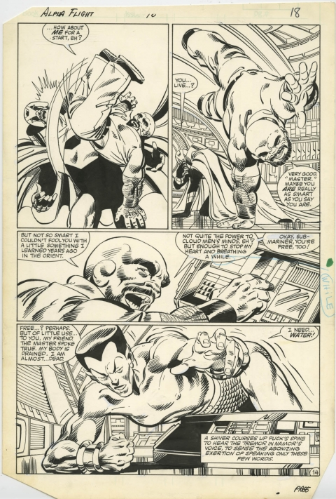 Alpha Flight issue 16 page 14 by John Byrne and Bob Wiacek.  Source.