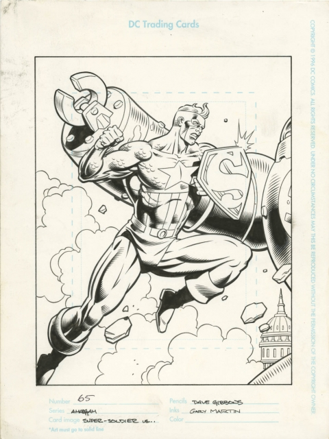 Amalgam Superman/Captain America Trading Card by Dave Gibbons and Gary Martin.  Source.