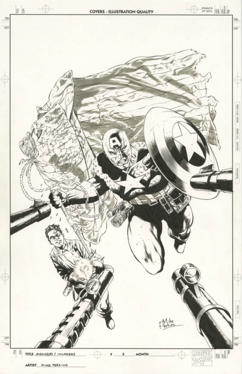 Avengers/Invaders issue 2 cover by Mike Perkins. Source.