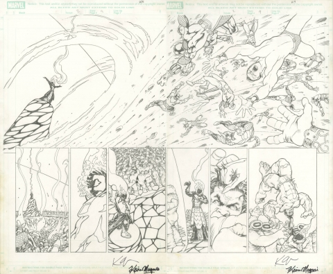 Defenders issue 2 pages 8-9 by Kevin Maguire.  Source.