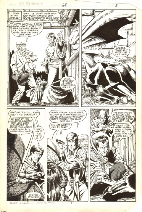 Doctor Strange issue 68 page 3 by Paul Smith and Terry Austin.  Source.
