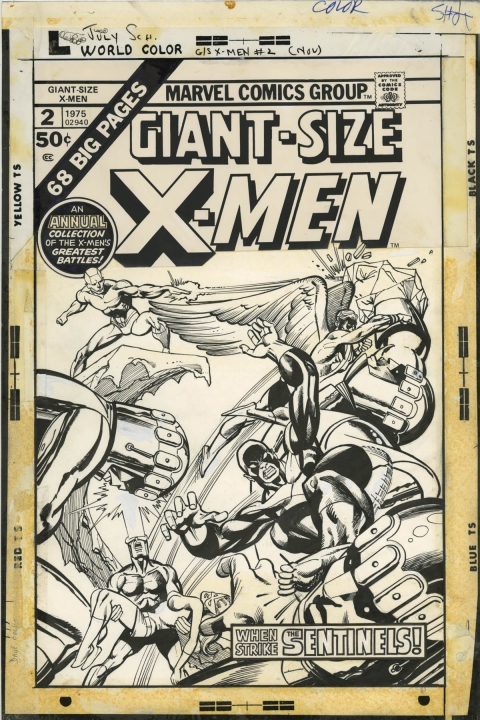 Giant-Size X-Men issue 2 cover by Gil Kane and Klaus Janson.  Source.