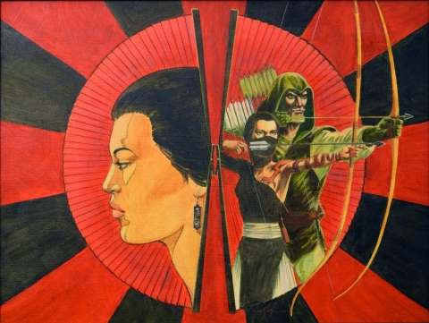 Green Arrow Longbow Hunters issue 2 cover by Mike Grell.  Source.